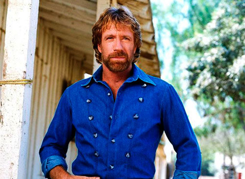 A bulletproof vest wears Chuck Norris for protection.